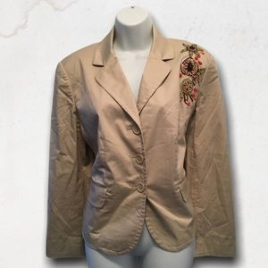 Vintage Beige Blazer With Embroidery Flowers